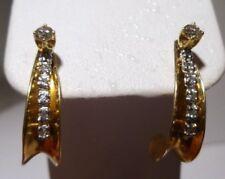 Stud 14k Gold Diamond Earrings With Jackets White & Yellow Gold 0.24 CT Diamonds