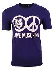 LOVE MOSCHINO PEACE LOGO PRINT T-SHIRT NAVY BLUE & WHITE