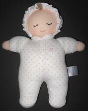 Babycottons Soft Doll Rattle White Pink Polka Dots Cloth Stuffed Baby Toy Peru