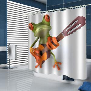 Frog Shower Curtain Bathroom Rug Set Thick Bath Mat Non-Slip Toilet Lid Cover