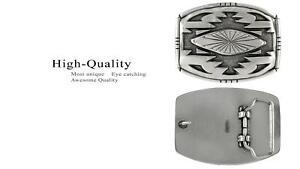 American Southwest Geometric Pattern Sterling Silver Plated Western Belt Buckle