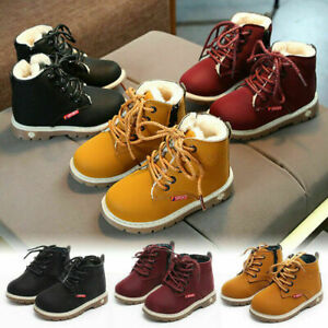 Girls Kids Winter Boots Boys Ankle Shoes Warm Snow Boots Fur Lined Casual