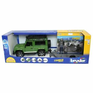 Land Rover Defender With Trailer And Motorcycle And Driver By Bruder 2598