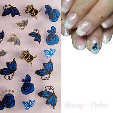 Nagel Sticker Metallic Sticker Nailart Tattoo Aufkleber 3D Blau und Gold XF 5
