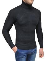 Maglione Dolcevita uomo Diamond invernale nero slim fit pullover a collo alto