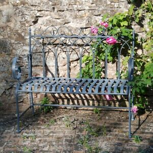 Gorgeous Metal Gothic Garden Bench Lead Grey Ideal For Garden,Patios And Balcony