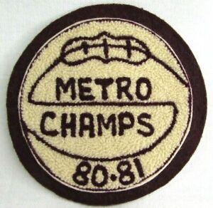 Vtg 1980 81 Metro Champs Chenille Basketball Varsity Jacket Patch Jenks Oklahoma