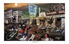 Dave Mann Ed Roth Studios Print Poster Motorcycle Tijuana Jail Break