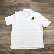 Miami University of Ohio White Golf Polo Shirt Mens XL Oxford RedHawks Champion