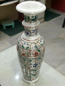 """18"""" Tall Antique Marble High Quality Inlay Decorative Flower Vase Gifts E1350"""