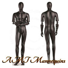 Male Full Body Mannequins Flexible Arms, High End, Black mannequin Hmc3-1-Ds