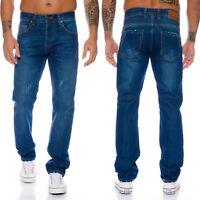 Lorenzo Loren Herren Jeans Denim Hose Blau Used-Look Straight-Cut W29-W44 LL-323