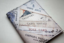 passport cover leather - Vintage Style Cover with Post Cards art r_n17
