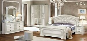 Aida Italian Bedroom Set in White and Silver Finish - 5 Piece Queen Size