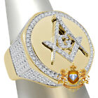 Mens Real Yellow Gold Sterling Silver Masonic Freemason Lab Diamond Ring Band
