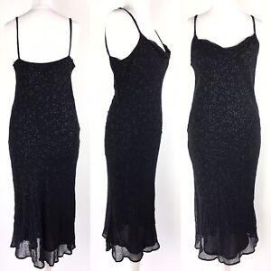 Vintage 90s Y2K Jigsaw Dress Midi Slip Bias Cut Black Embellished Fits Modern 8