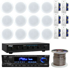 """AM/FM USB Receiver, 5.25"""" In-Ceiling Speakers, Wires, Volume Knob, Selector"""