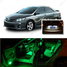For Toyota Corolla 2003-13 Green LED Interior Kit +Xenon White License Light LED