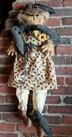 """Country Primitives Gringe Doll """"Lady Corrin With Her Crows"""" 32"""" All Handmade"""