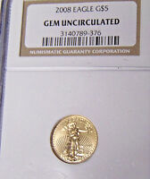 NGC 2008 $5 Gold American Eagle Gem Uncirculated 1/10 oz Gold Coin