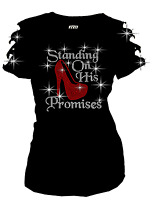 Bling Standing on His Promises Rhinestones T-Shirt Ripped Cut Out Red High Hill