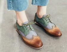 Mixed-colored Women's Brogues Leather Shoes Wing Tip Lace up Flats Retro Oxfords