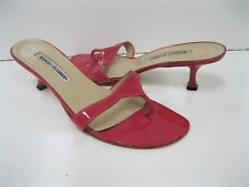 Manolo Blahnik Hot Pink Patent Leather Thong Strappy Sandals Shoes 40 GREAT DEAL