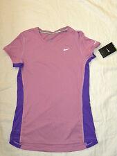 womens NIKE running miler short sleeve purple crew shirt UPF size S NEW nwt $38