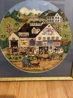 """Charles Wysocki """"PEPPERCRICKET FARMS""""Crewel Wall Art Framed Americana Folk"""