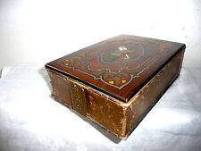 NOT A BOOK! AN ANTIQUE MARQUETRY BOULLE STYLE MOP, BRASS, WOOD INLAID BOX