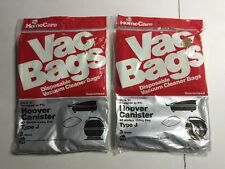2 Packs HOME CARE VAC BAGS STYLE 21 HOOVER CANISTER TYPE J=6 Bags (AS)