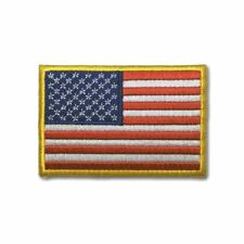 """Embroidered 3"""" American US Flag Yellow Border Sew or Iron on Patch Biker Patch"""