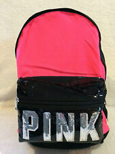 VICTORIA SECRET PINK BLING CAMPUS BACKPACK / TRAVEL TOTE /GYM BAG NEON HOT PINK