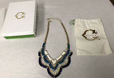 "QVC C Wonder Brand Womens Princess Length 18-20"" Gold-tone Necklace Blue White"