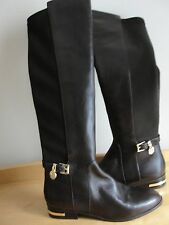 Michael Kors Aileen Brown Leather Boots Gold MK Charm Size 6 NEW