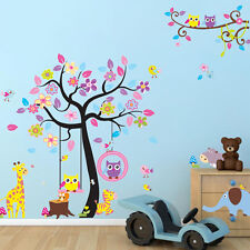 3 in 1 Wandtattoo Kinderzimmer Wandsticker Tiere Baum Beby Eule Giraffe XXXL