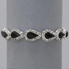 Vintage Inspired Bracelet with Jet & Clear Crystals (Sparkle-340)