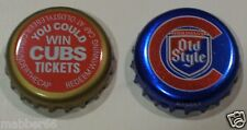 2 RARE OLD STYLE BEER LAGER BREW MALT CHICAGO CUBS BASEBALL PROMO  BOTTLE CAPS
