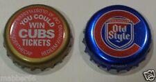 2 RARE OLD STYLE BEER LAGER BREW MALT CHICAGO CUBS BASEBALL PROMO  BOTTLE CAPS