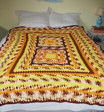 "Crochet Granny Square Afghan *Brown Orange Yellow* Vintage Throw Blanket 83""x60"""