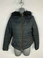 WOMENS NEW LOOK BLACK ZIP UP CAUSAL PADDED WINTER PUFFER JACKET RAIN COAT SIZE 8