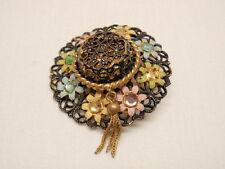 Wide Brim Hat Pin Germany US Zone Brooch Black Filigree Pastel Flower Rhinestone