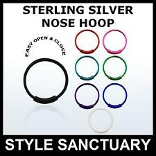 Sterling Silver Nose Hoop Easy Open Ring 0.6mm 22g Stud Screw Bone Bar 925 Ball