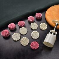 50g Mooncake Mold with 6pcs Flowers Stamps Hand Press Moon Cake Pastry Mould DIY