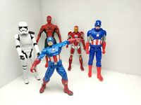 Lot of 5 Superhero Action Figures Avengers Spiderman/Ironman/Captain America
