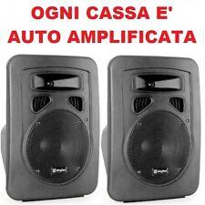 """COPPIA CASSE ACUSTICHE  AMPLIFICATE BI-ATTIVE 400W 8"""" 2 VIE IN ABS nuove contras"""
