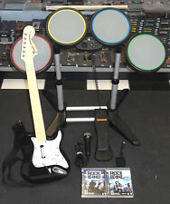 ROCK BAND 1 2 BUNDLE KIT w/ DRUMS, WIRELESS GUITAR, MIC, GAME PLAYSTATION 3 PS3