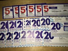 Lot Of (20) BED BATH & BEYOND COUPONS - 20% OFF One Single Item & $5 Off $15