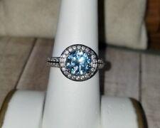 Ross Simons Sterling silver blue topaz cz Halo ring