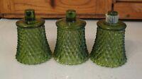 THREE Vintage HOMCO Home Interiors GREEN Glass Votive Candle Holder Diamond